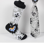 Verse 9 Osaka - Black/White/Grey/Yellow/Blue Floral Pattern Print Design Sock Combo