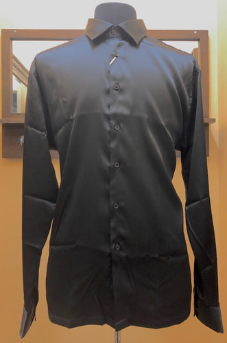Cigar Couture Black Silk Men's Long Sleeve Shirt