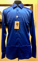 Cigar Couture Royal Blue Silk Men's Long Sleeve Shirt