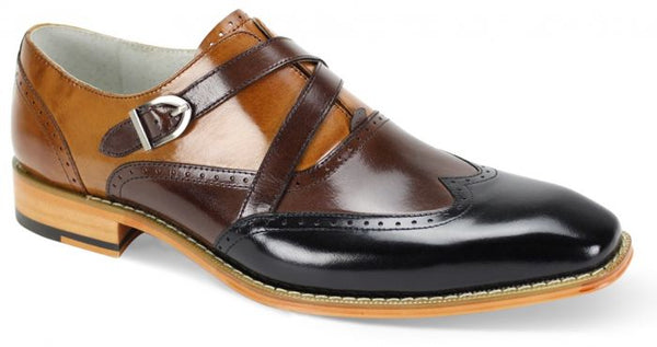 GIOVANNI FELIX BLACK/CHOCOLATE/TAN MEN'S SHOES