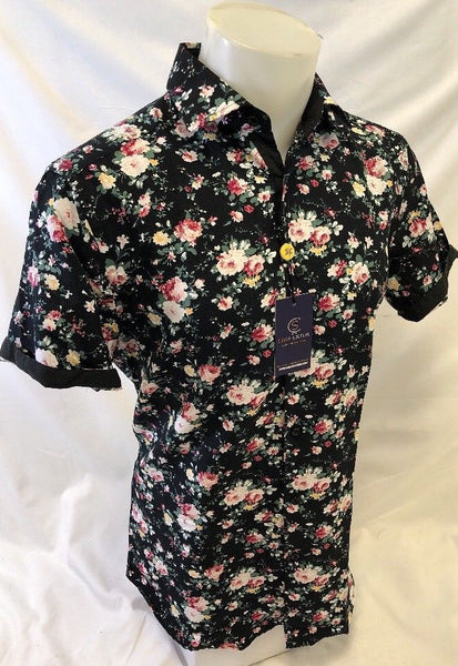 Suslo Couture Black Designer Floral Print Short Sleeve Shirt
