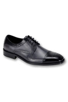 Steven Land Black/Grey Men's Leather Fashion Shoes