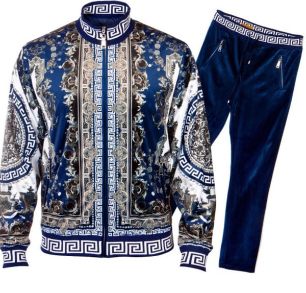 Prestige Mens Luxury Design Blue Velour Set