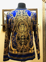 Public Denim Prestige Digital Gold Blue Print Shirt