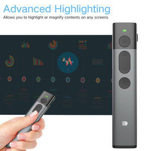 Doosl Advanced Presentation Remote with Digital Highlighting Magnify, Perfect for LED/LCD, 98FT Range, 2.4GHz, Universal Compatibility