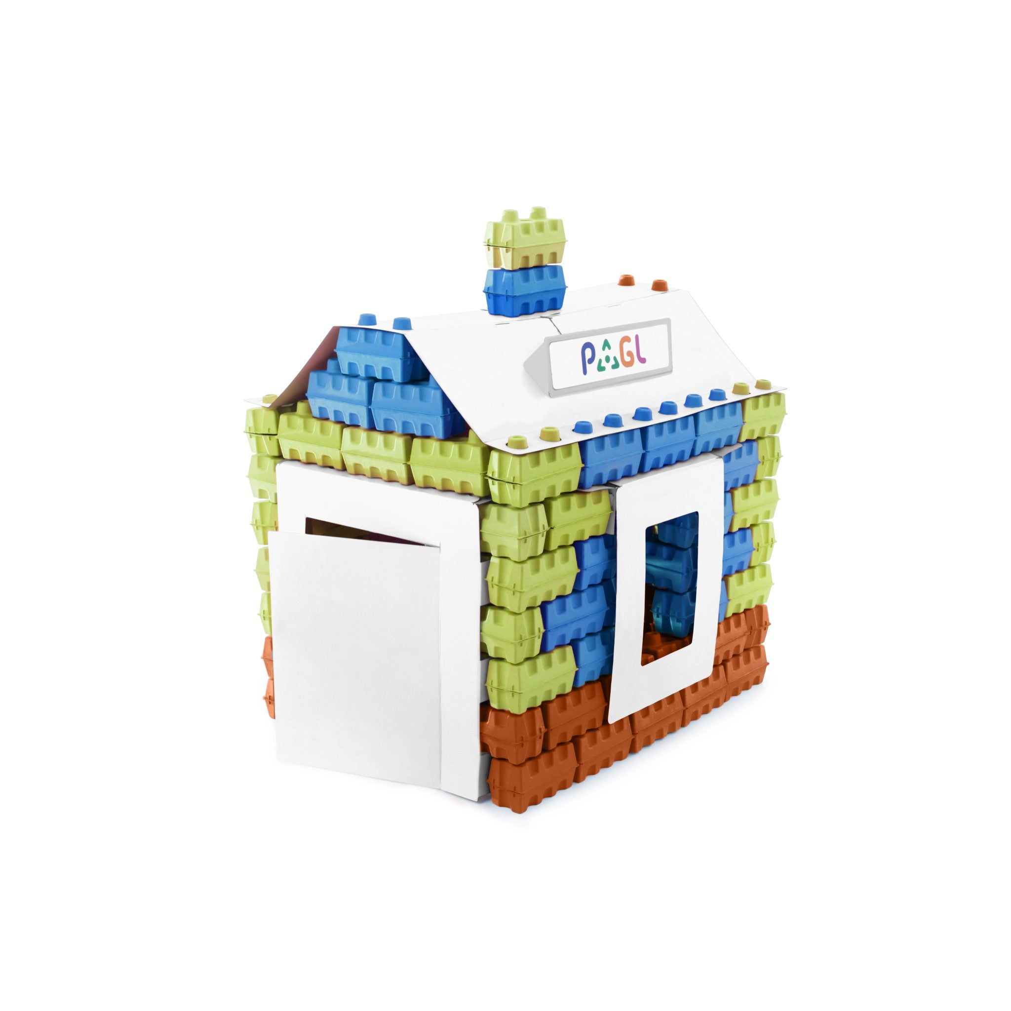 Creative kit - a construction set of 111 multicolored building blocks. Educational toy kit for kids.