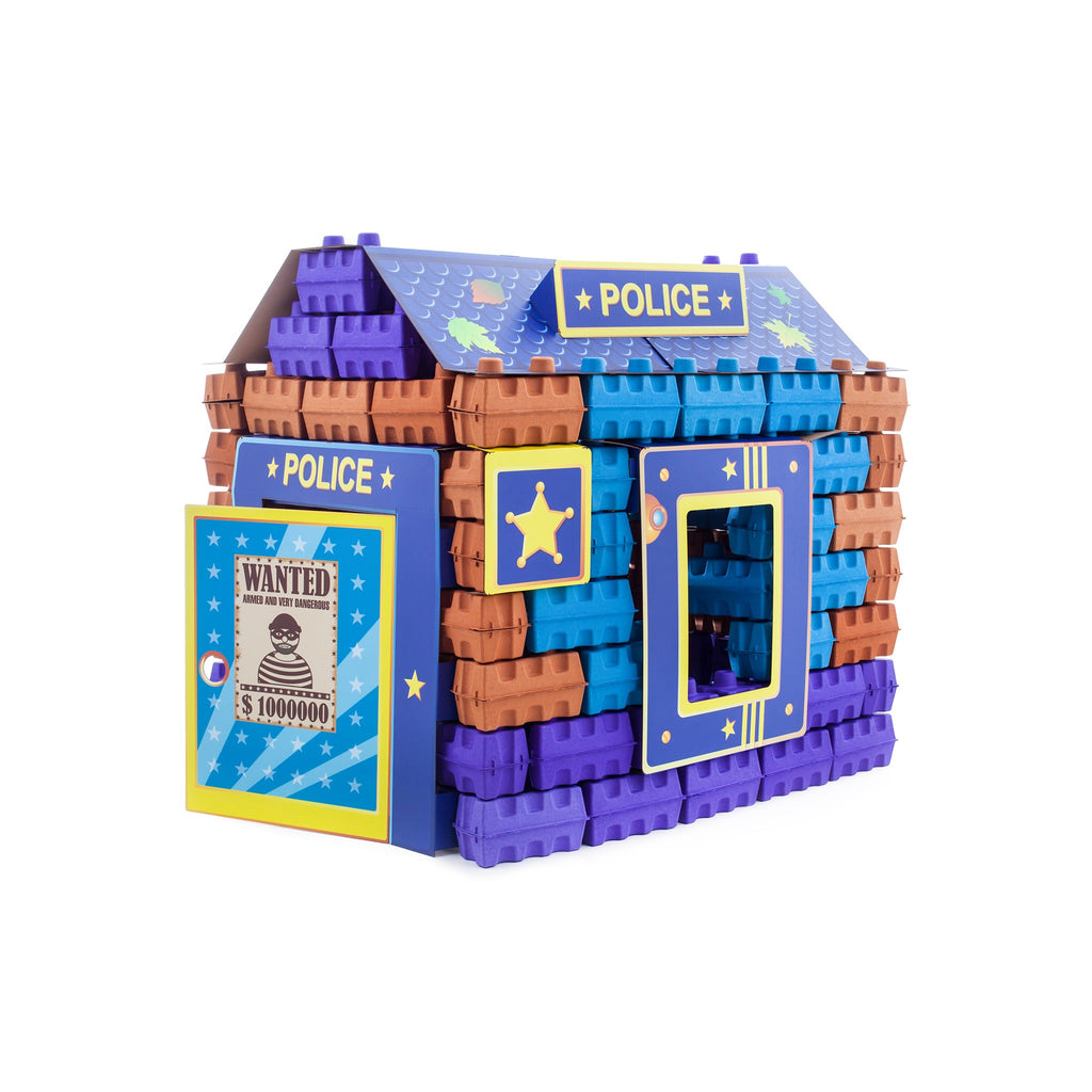 PAGL Police kit - a construction set of 111 multicolor building blocks for kids.