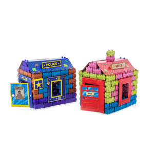 Police and Store kits - 2 construction sets of 111 multicolored building blocks. Learning toy kits for kids.