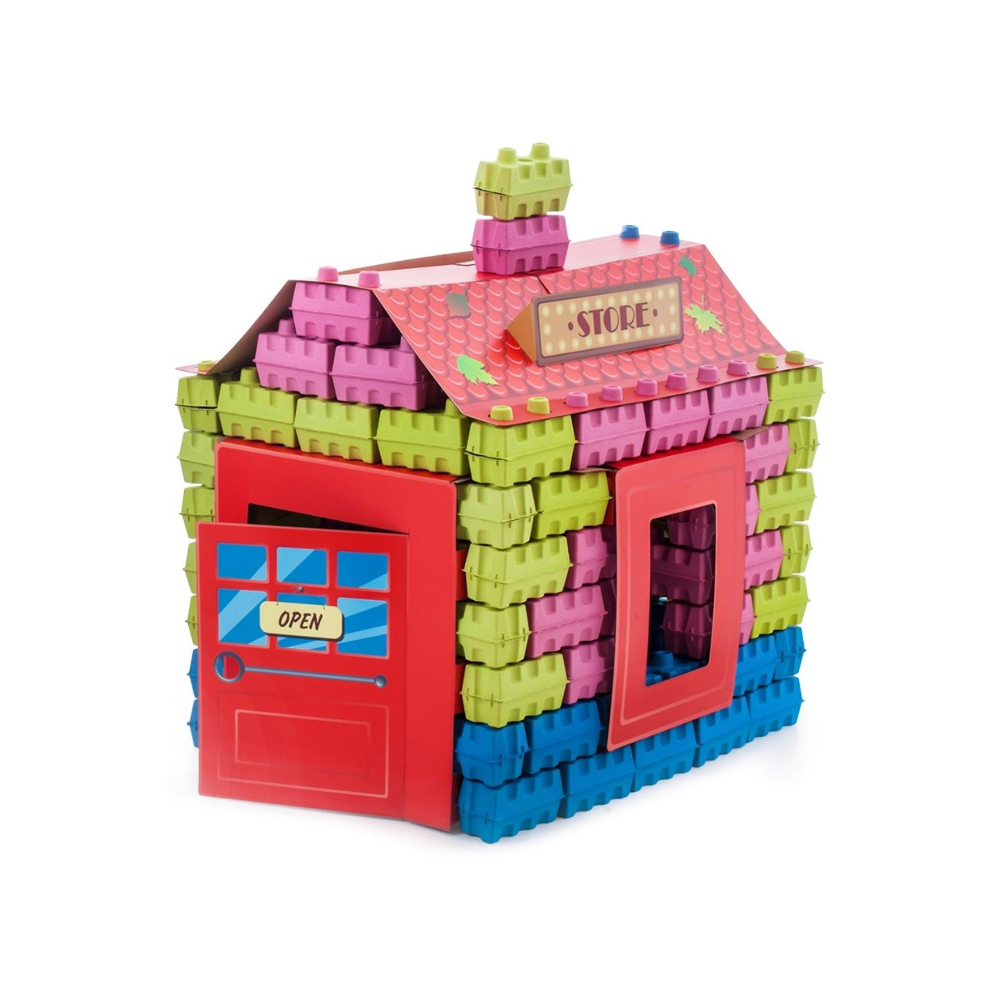Store kit - a construction set of 111 multicolored building blocks. Educational toy kit for kids.