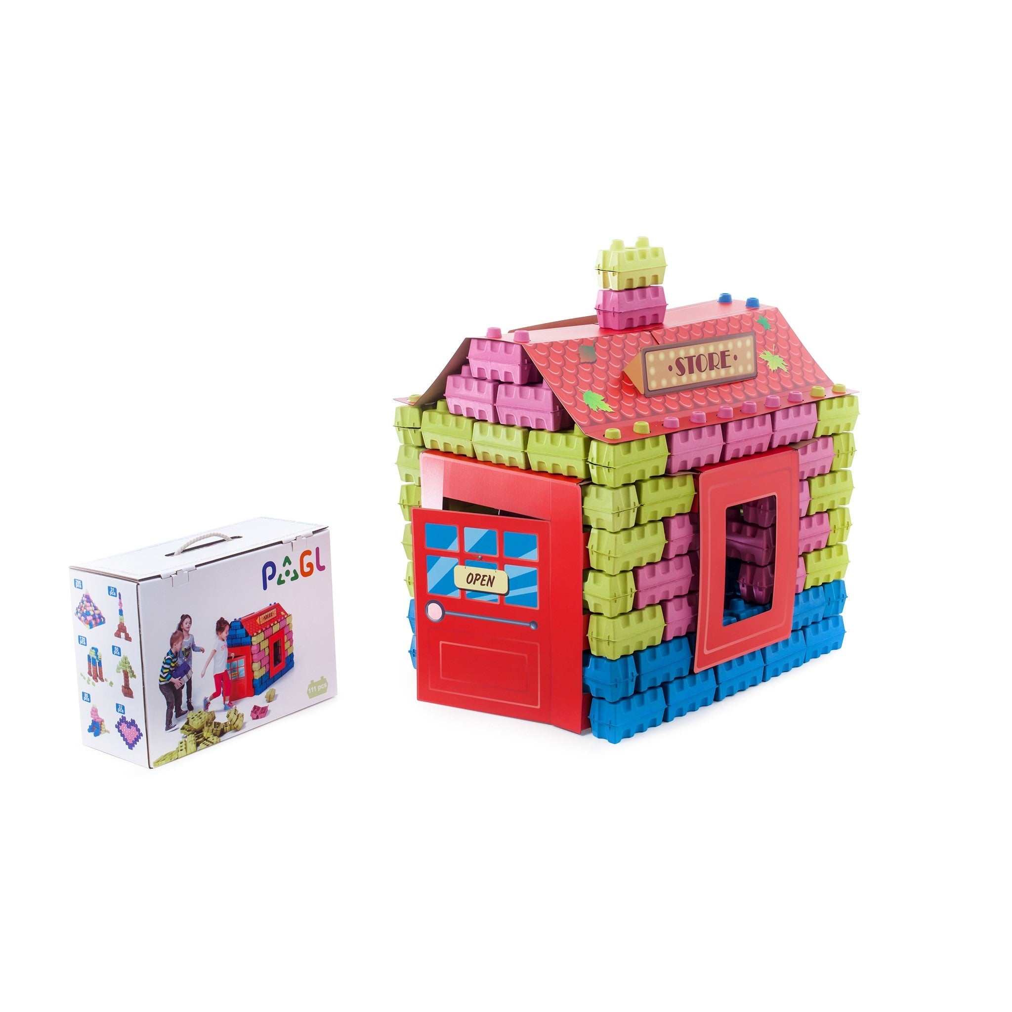 PAGL Store kit include of 111 blocks, one roof, two fixators, two signboards, one window, one door.