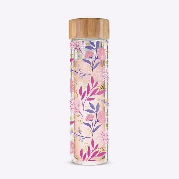 Tea Infuser Glass Travel Mug Botanical Bliss Pinky Up Shop Jupiter Goods