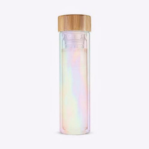 Cosmic Iridescent Tea Infuser Glass Travel Mug