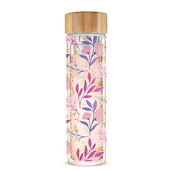Tea Infuser Glass Pink Purple Floral Travel Mug Botanical Bliss Pinky Up Shop Jupiter Goods