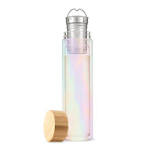 Cosmic Iridescent Rainbow Tea Infuser Glass Travel Mug Shop Jupiter Goods