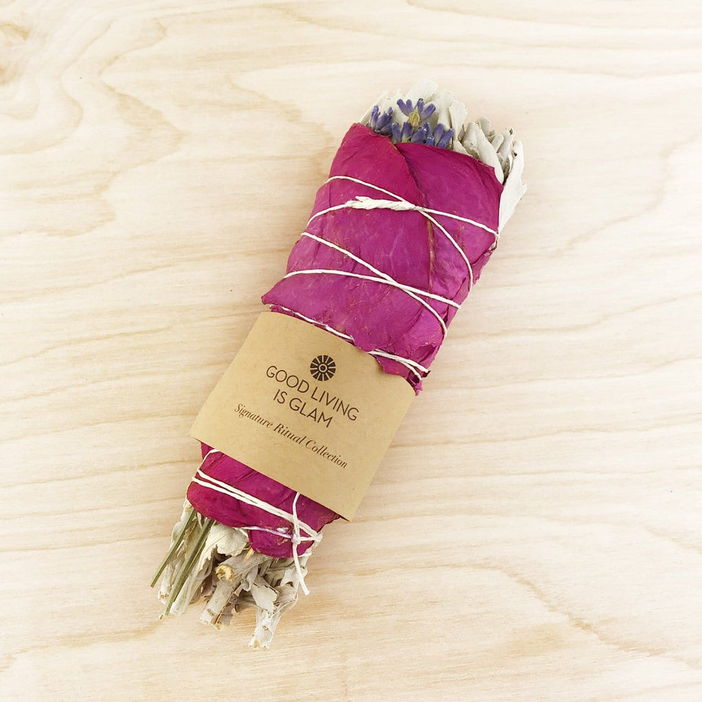 Floral Sage Smudge Stick with Rose Petals & Lavender