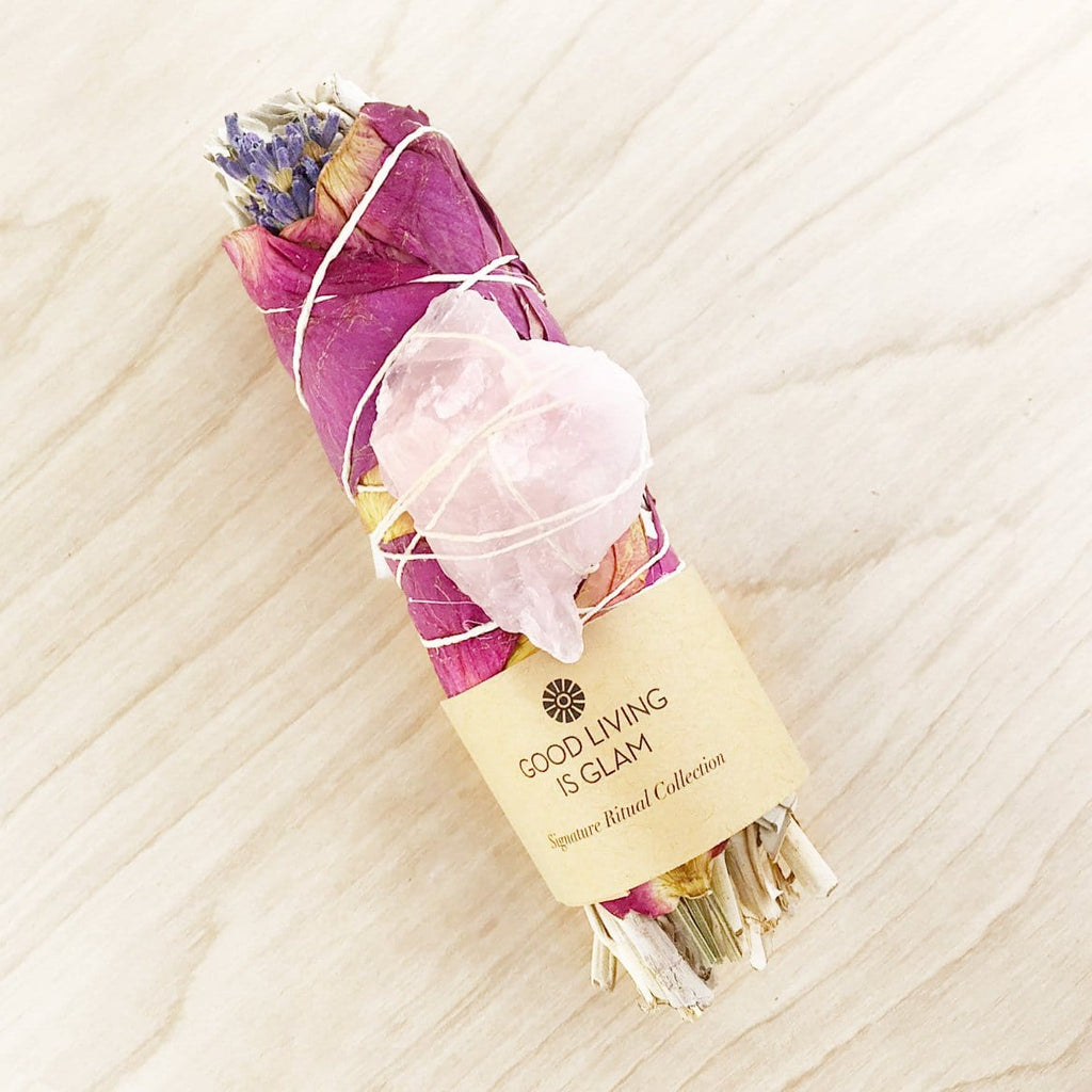 New Moon Floral Sage Smudge Stick with Rose Quartz Boost