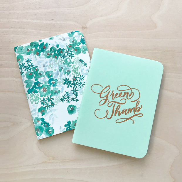 Green Thumb and Floral Watercolor Print Notebook Set Antiquaria Pocket Notebooks Shop Jupiter Goods