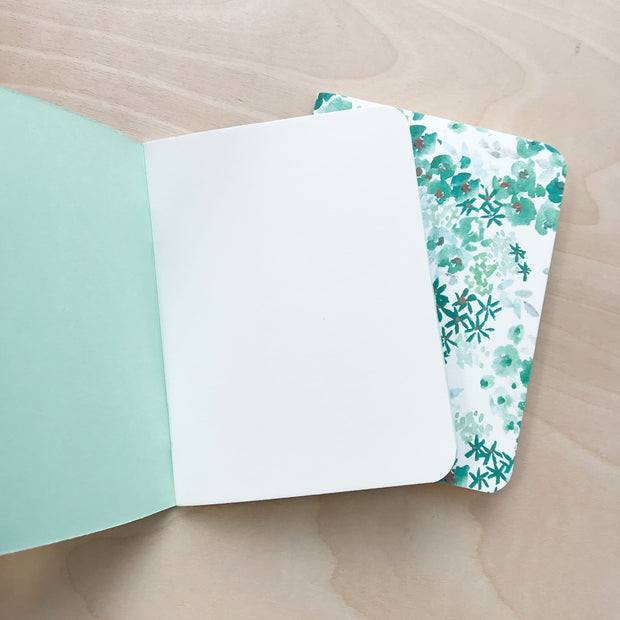 Green Thumb & Floral Watercolor Print Notebook Set