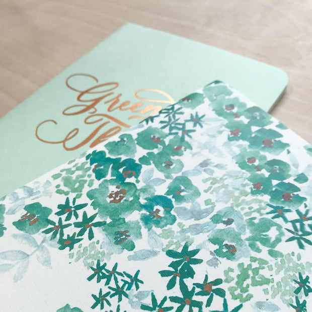 Green Thumb and Floral Watercolor Print Copper Foiled Notebook Set Antiquaria Pocket Notebooks Shop Jupiter Goods