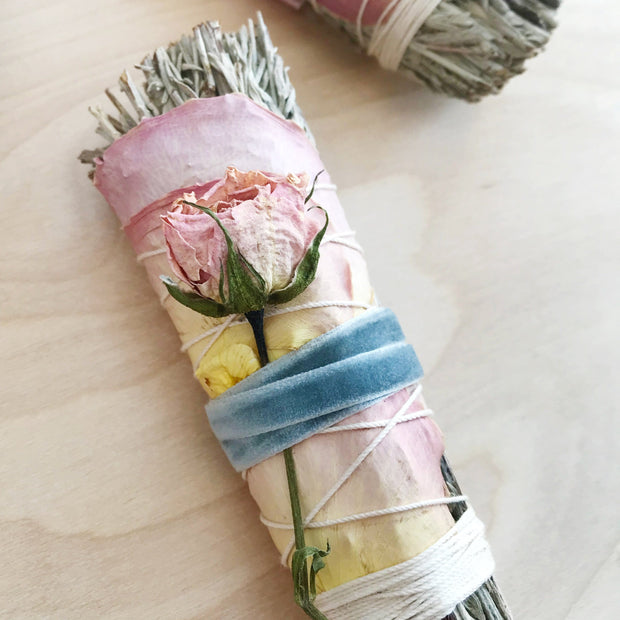 Blue Sage Clearing Roses Smudge Bundle Black and Jane Shop Jupiter Goods