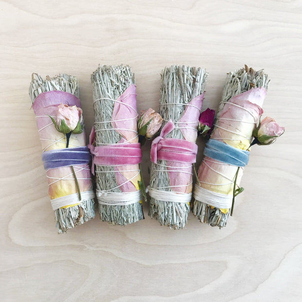 Blue Sage Clearing and Cleansing Roses Smudge Bundle Black and Jane Shop Jupiter Goods