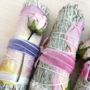 Blue Sage Roses Feminine Smudge Bundle Black and Jane Shop Jupiter Goods