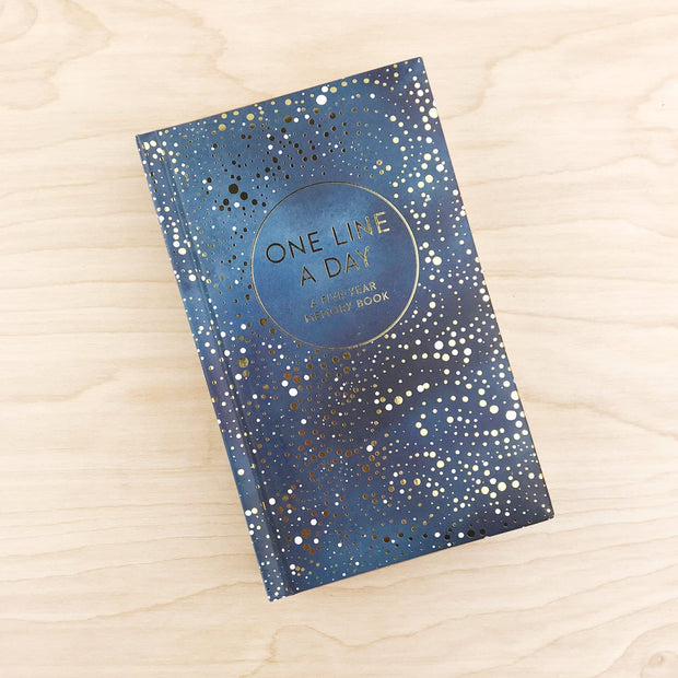 Celestial One Line A Day Gold Foil Notebook Shop Jupiter Goods