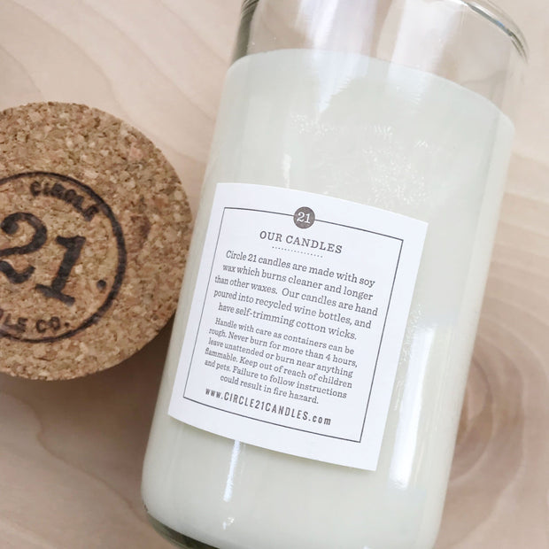 Spa Day 12 ox Natural Soy Recycled Glass Candle Bergamot Peppermint Serenity Peace Circle Twenty One 21 Shop Jupiter Goods