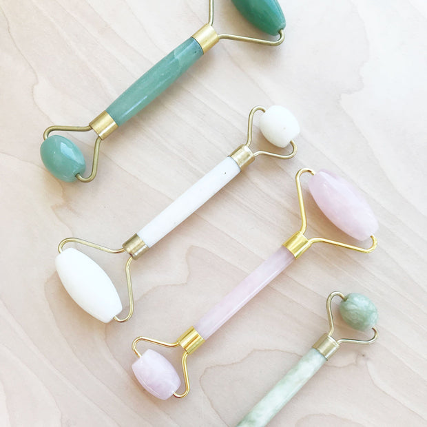 Crystal Stone Facial Rollers Rose Quartz White Aventurine Jade Shop Jupiter Goods
