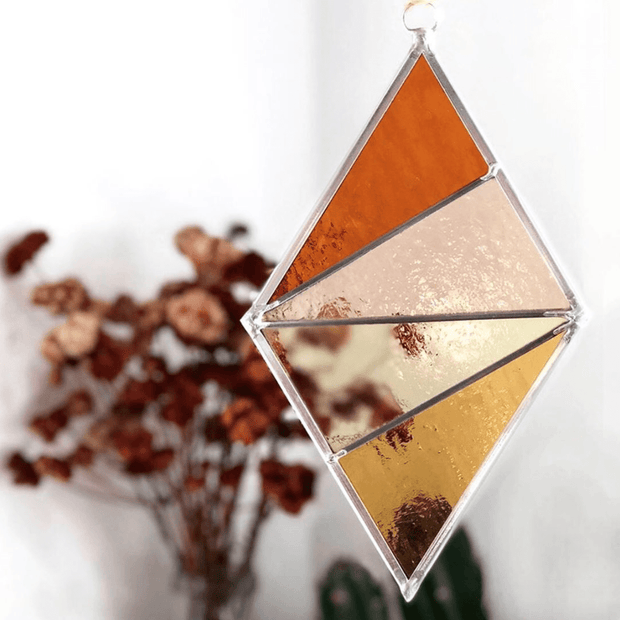 Stained Glass Ornament Diamond in Buckwheat by Debbie Bean Shop Jupiter Goods