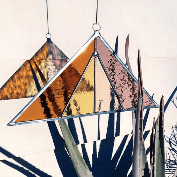 Stained Glass Suncatcher Triangle in Summer by Debbie Bean Shop Jupiter Goods