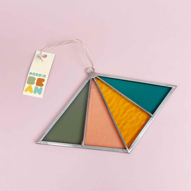 Diamond Shaped Modern Stained Glass Ornament by Debbie Bean In Ocean Shop Jupiter Goods