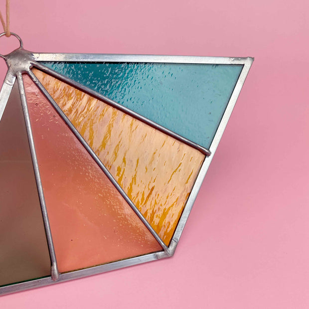 Rays Stained Glass Suncatcher Diamond Shaped Modern Stained Glass Ornament by Debbie Bean In Ocean Shop Jupiter Goods