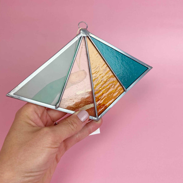 Colorful Rays Stained Glass Suncatcher Diamond Shaped Modern Stained Glass Ornament by Debbie Bean In Ocean Shop Jupiter Goods
