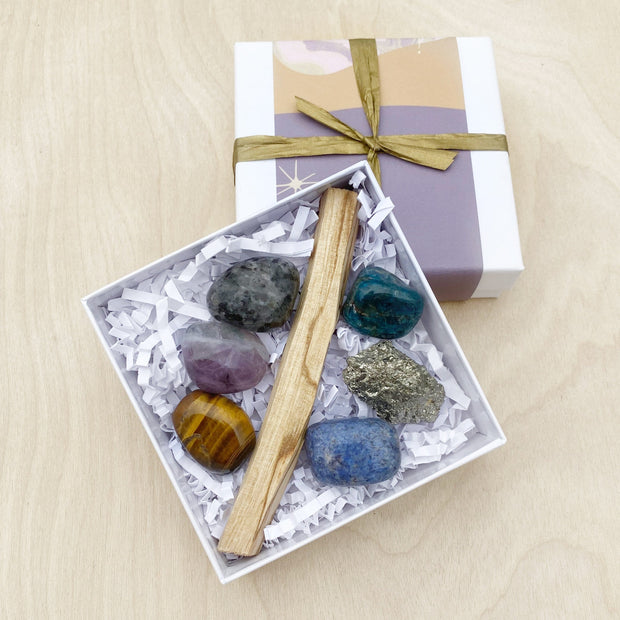 Goals Crushing Crystal and Palo Santo Ritual Kit Shake it Off Clearing Healing Shop Jupiter Goods
