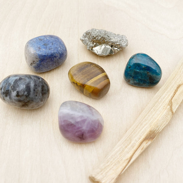 Goals Crushing Rainbow Fluorite Crystal and Palo Santo Ritual Kit Shake it Off Clearing Healing Shop Jupiter Goods