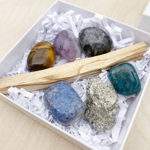 Goals Crushing Pyrite Crystal and Palo Santo Ritual Kit Shake it Off Clearing Healing Shop Jupiter Goods