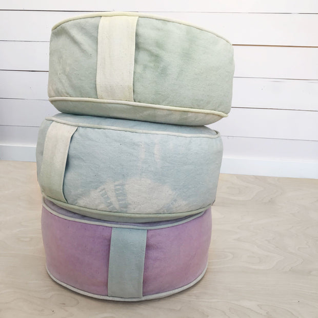 Handmade Hand Dyed Meditation Cotton Canvas Cushion Lavender Color by Via Verano Shop Jupiter Goods