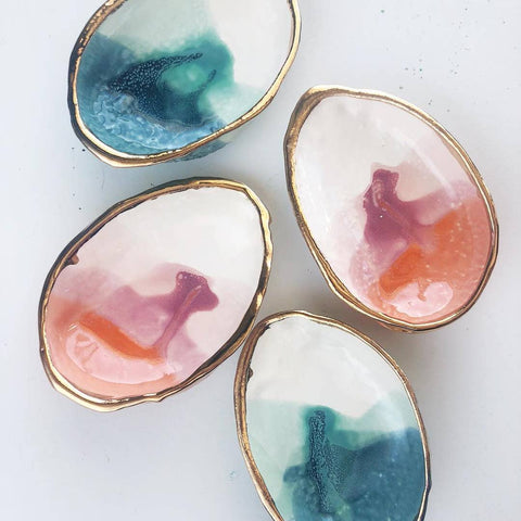 Ceramic Abalone Smudge Dish Handmade with 22K Gold