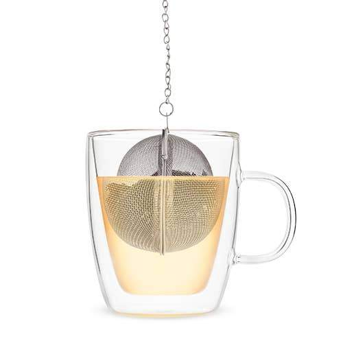 Stainless Steel Herbal Tea Infuser Ball Hooks on Mug Pinky Up Shop Jupiter Goods