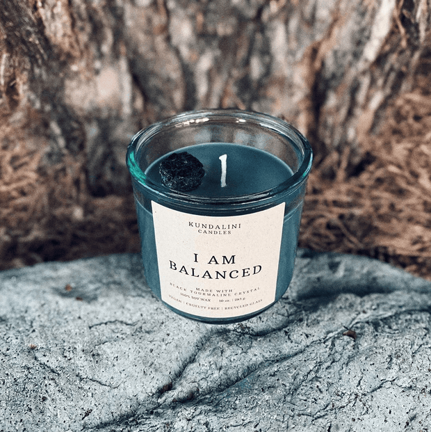 Balanced ~ Lavender Vanilla ~ Black Tourmaline Crystal Candle