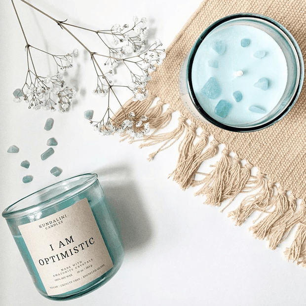 Optimistic ~ Clementine Lavender ~ Amazonite Crystal Candle