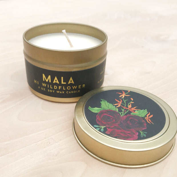 Mala Travel Tin Exotic Soy Candle Rose by hi Wildflower Shop Jupiter Goods