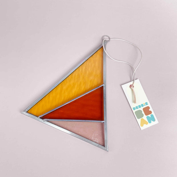 Rays Stained Glass Suncatcher Triangle in Buckwheat Modern by Debbie Bean Shop Jupiter Goods