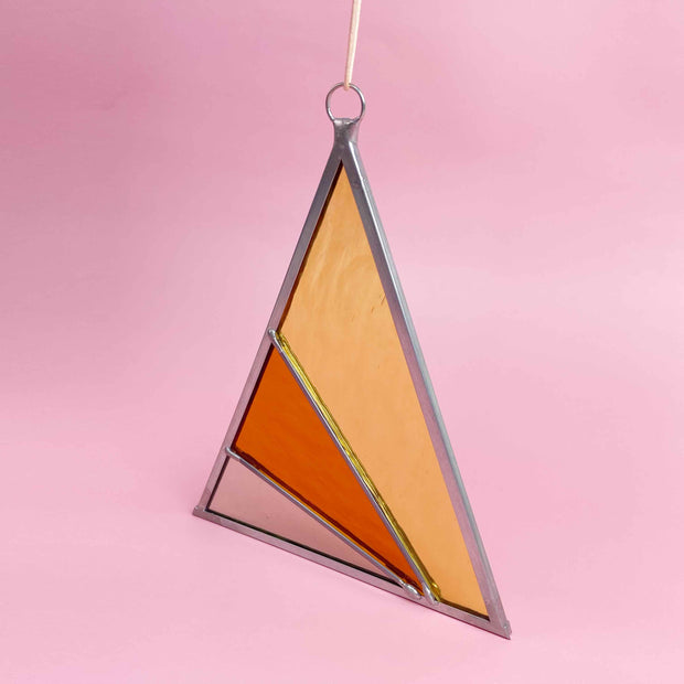 Rays Stained Glass Suncatcher Triangle in Buckwheat Modern Colorful Home by Debbie Bean Shop Jupiter Goods