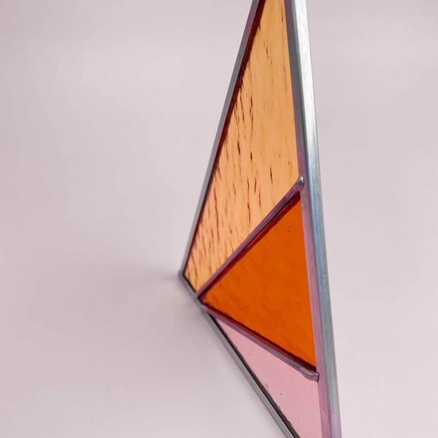 Rays Stained Glass Suncatcher Triangle in Buckwheat Modern Abundant Space by Debbie Bean Shop Jupiter Goods