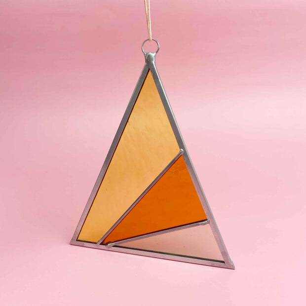 Rays Stained Glass Suncatcher Triangle in Buckwheat Modern Warm Colors by Debbie Bean Shop Jupiter Goods