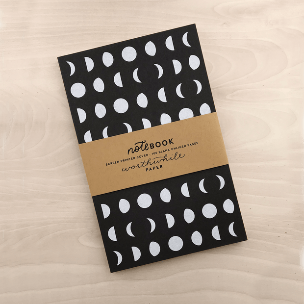 Moon Phase Screenprint Notebook
