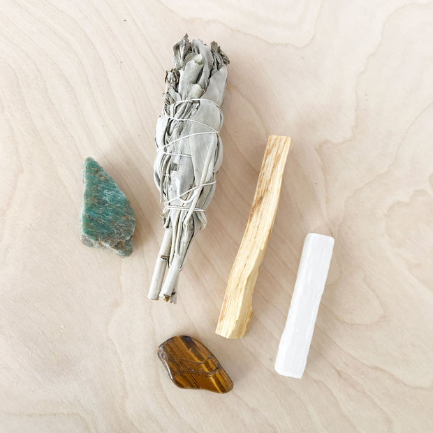 New Beginnings Ritual Kit Selenite Tigers Eye Crystal Palo Santo by Jax Kelly Shop Jupiter Goods