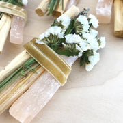 Ecuadorian Palo Santo and Peach Selenite Lavendar Smudge Bundle by Black and Jane Shop Jupiter Goods